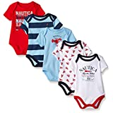 Nautica Baby Boys' Newborn Five-Pack Bodysuits, Red, 6-9 Months