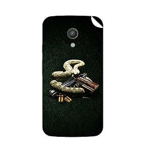 ezyPRNT Moto G(2nd Gen) Rattle Snake vs Gun mobile skin sticker