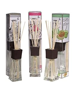 Greenair All Natural Aromatherapy Reed Diffuser, Cucumber Melon, Cherry Blossom and Fresh Cotton, Set of 3