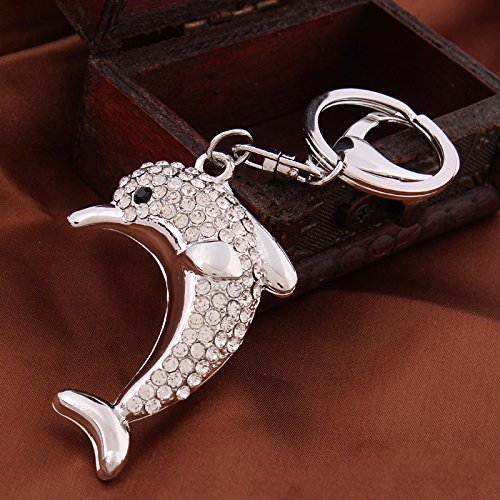 Click Down 1pcs Bling Rhinestone Cute White Dolphin Metal Keychain Keyring