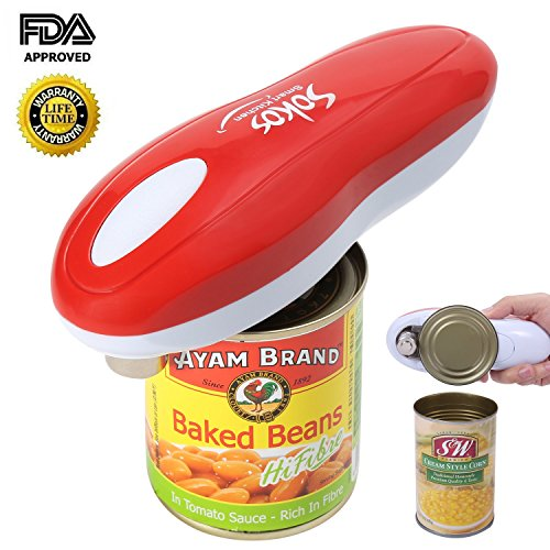 Electric Can Opener, Smooth Edge and Automatic One Touch Restaurant Can Opener(Red) (One Button Can Opener compare prices)