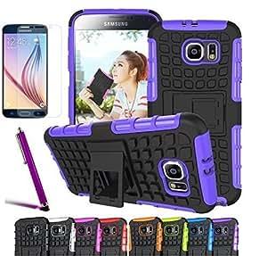 Galaxy S7 Case, CINEYO(TM) heavy Duty Rugged Dual Layer Case with kickstand (Samsung Galaxy S7 case Black) (Purple)