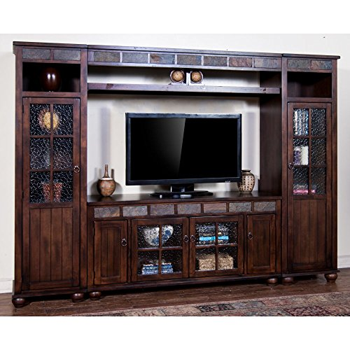 Sunny Designs K3509DC Santa Fe Entertainment Wall with Bridge, Two Piers and TV Console (Entertainment Center Dresser compare prices)