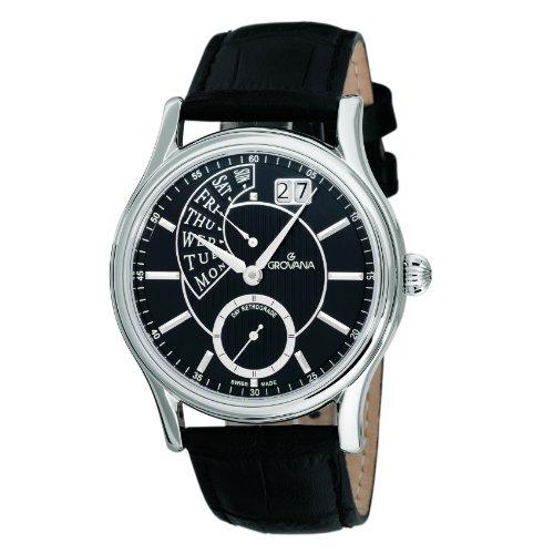 Grovana 1718,1537 - Reloj analógico de cuarzo para hombre, correa de cuero color negro