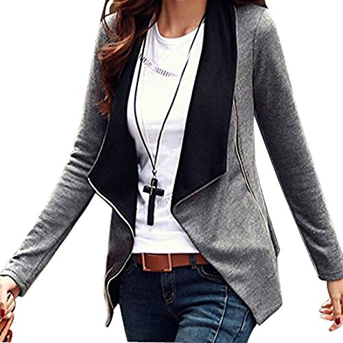 Minetom Donna Maniche Lunghe Cardigan Breve Blazer Cappotto Coat Jacket Giacca Outwear Grigio IT 46