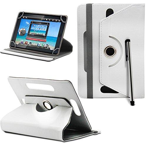 Prestigio MultiPad 8.0 Pro Duo Tablet Neues Design Universelle um 360 Grad drehbare PU-Leder Designer bunte Hülle mit Standfunktion - Cover - Tasche - Weiß / Plain White Von Gadget Giant®