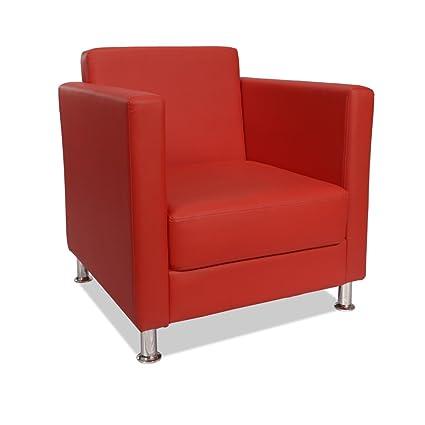 Poltrona imbottita 100% ecopelle rossa arredamento design salotto casa CUBO-R