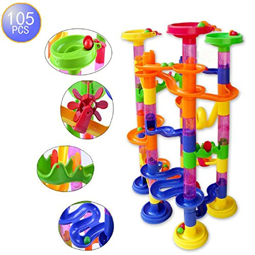 Megadream-105-pcs-Kids-Building-Blocks-Construction-Toy-75-Building-Blocks-30-Plastic-Race-Marbles-DIY-Constructing-Maze-Toy-for-All-Family