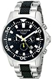Akribos XXIV Men's AK561TTB Conqueror Black and Silver Stainless Steel Divers Chronograph Watch