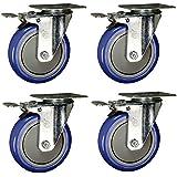 5 Inch Swivel Caster Total Lock Brake - Blue Polyurethane Tread - Top Plate Set of 4