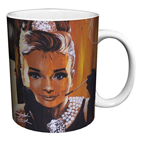 Stephen Fishwick Audrey Hepburn Breakfast At Tiffany'S Classic Hollywood Movie Actress Celebrity Porcelain Gift Coffee (Tea, Cocoa) 11 Oz. Mug