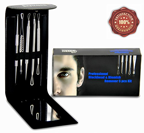 Professional Blackhead and Blemish Remover Kit. 5pcs Blackheads Extractor, Comedone Extractors Blemish Tools Blackhead Remover and Case with Mirror. (Blackhead Remover For Men compare prices)