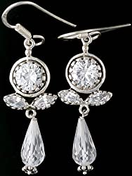 Exotic India CZ Earrings - Sterling Silver