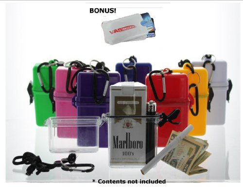 Waterproof Cigarette Case, With Bic Lighter - Red & Bonus Rfid Protection!