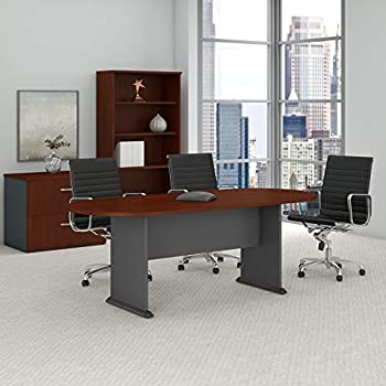 Bush Business Furniture Series A & C 82W x 35D Racetrack Oval Conference Table in Hansen Cherry