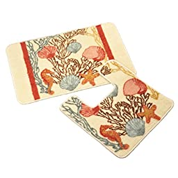 Collections Etc Under the Sea Bath Mats - Set of 2