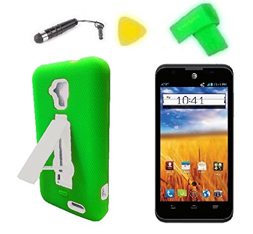 Heavy Duty Hybrid Phone Cover Case Cell Phone Accessory + Extreme Band + Stylus Pen + Lcd Screen Protector + Yellow Pry Tool For Gophone At&T Zte Mustang Z998 Prepaid (Green/White)