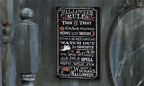 [Chalk Talk MDF Halloween Design Wall Plaque (Halloween Rules)] (Wine Inspired Halloween Costumes)