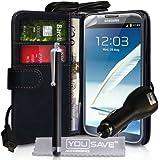 Samsung Galaxy Note 2 Zubehör Tasche Galaxy Note 2 Schwarz PU Leder Brieftasche Hülle Mit Auto Ladegerät Und Griffel Stift