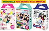Fujifilm Instax Mini Film 3 Pack BUNDLE ★ Candy Pop ★ Stained Glass ★ Airmail ★ 10 sheets X 3 Packs = 30 Sheets of Pictures! ★BONUS-FREE★ Wiki Deals Colorful Micro Fiber Cloth!