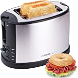 TZS First Austria - 2 Scheiben Edelstahl Toaster mit Brötchenaufsatz | Bagel-Funktion und Nachhebe-Funktion | Isoliertes Gehäuse | Krümelschublade | Toast-Zentrierung | Modernes edles Design | schwarz