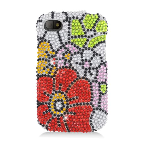 Eagle Cell Pdbbq10S325 Ringbling Brilliant Diamond Case For Blackberry Q10 - Retail Packaging - Green/Red Flower