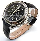 180mm Classic Black Crocodile Grain' Leather Watch Strap For Omega Speedmaster