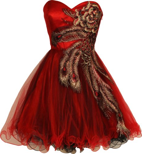 Metallic Peacock Embroidered Holiday Party Prom Dress Junior Plus Size, Size: 3X, Color: Red