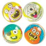 キラキラモンスター・スーパーボール(4個入り)子どもたちのアクティビティ、ハロウィンパーティやゲームの景品に 海外のかわいいモンスター
