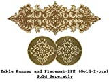 Cotton Craft - Medallion Hand Beaded Table Runner in Gold-Ivory - 13x36 Inches Oblong