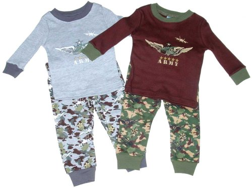 Buy Little Boys' Cotton Pajamas Loungewear Set with Army Print