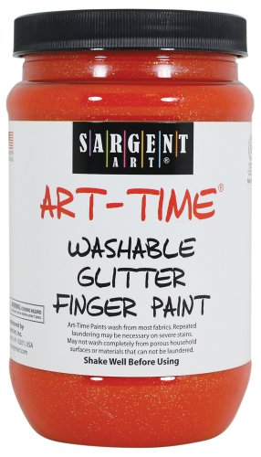 Sargent Art 22-9214 16-Ounce Art Time Washable Glitter Finger Paint, Orange
