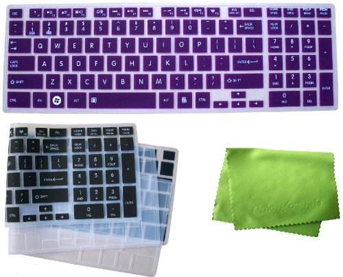 Coloryourlife 3-Pack Ultra Thin Translucent Silicone Keyboard Cover Protector Skin For Toshiba Satellite C850 C855 C855D C870 C875 C875D - Us Layout Compatible Models Listed In Product Description + Microfiber Cloth In Retail Packaging- Kindly Double Chec
