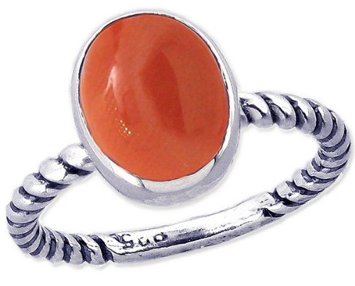 Twisted Sterling Silver Stackable Ring with Large Oval Cabochon Genuine Gemstone-Coral-in full,half,quarter sizes from 3.5 to 12_5
