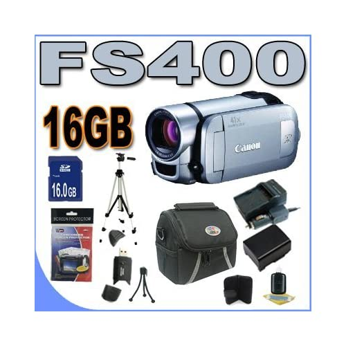 Canon FS400 Flash Memory Camcorder with 41x Advanced Zoom and SDXC Card Slot (Silver) Accessory Saver 16GB Battery/Charger Bundle!! Coupon 2015