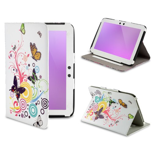 32nd Design book wallet PU leather case cover for Google Nexus 10 plus screen protector and cleaning cloth Colour Butterfly