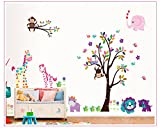 SYGA Nursery Wall Decal Colorful Tree with Giraffe, Elephant, Lion, Monkeys, Branch, Owls - Baby Wall Decal