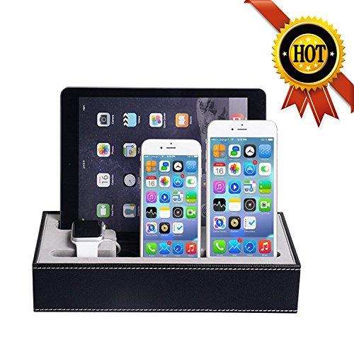 WOWO アップルウォッチ,チャージャースタンド,Apple watch,iphone,ipad,携帯,充電スタンド,革製,アクセサリー