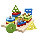 Rolimate Wooden Educational Preschool Shape Color Recognition Geometric Board Block Stack Sort Chunky Puzzle Toys, Birthday gifts toy for age 3 4 5 Years Old and Up Kid Children Baby Toddler Boy Girl