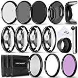 Neewer® 52MM Complete Lens Filter Accessory Kit for Lenses with 52MM Filter Size: UV CPL FLD Filter Set + Macro Close Up Set (+1 +2 +4 +10) + ND Filter Set (ND2 ND4 ND8) + Other Accessories