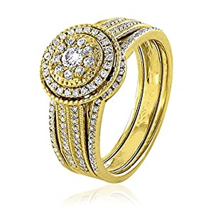 0.51 CT.Natural White Diamond Bridal Collection 18K Yellow Gold Women Wedding Ring Bridal Set(G-H,I2-I3)