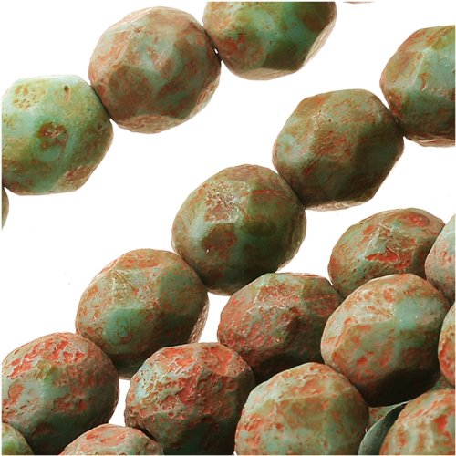 Jablonex Turquoise Stone Picasso' Round Czech Fire Polish Glass Beads (25 Pack), 6mm (Glass Bead Supplies compare prices)