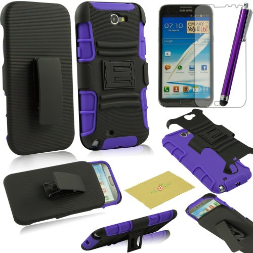 Fulland Prime Series Dual Layer Holster Case with Kick Stand and Locking Belt Swivel Clip for Samsung Galaxy Note 2 II N7100 With Stylus & Screen Protector-Purple/Black (Note Ii Stylus compare prices)