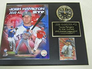 Josh Hamilton Texas Rangers Collectors Clock Plaque w 8x10 Photo and Card by J & C Baseball Clubhouse