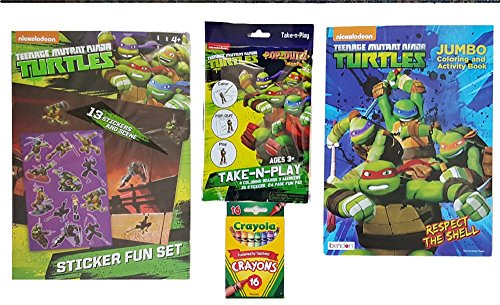 Teenage Mutant Ninja Turtles Kids Activity Gift Kit For Home or Travel: Bundle of 4 Items - Pop-Outz Pack, Sticker Scene Fun, 62 Page Coloring Book & Box of Crayons (Tmnt Fish Face compare prices)
