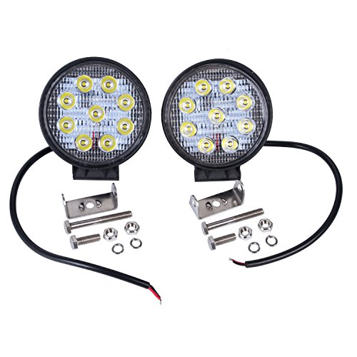 autvivid 2 pcs 27W LED Spot Work Led Lights Offroad Lamp for Atv Traile Plow Truck Jeep UV Car 12-36V 4wd 4x4 Boat (Light Truck Plow compare prices)