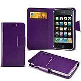 (Dark Purple) Samsung Galaxy Xcover 3 Fall-Qualitäts-Thin-Leder-Saugnapf-Mappen-Kasten-Abdeckungs-Haut mit Kredit- / Bankkarte Slots von i-Tronixs