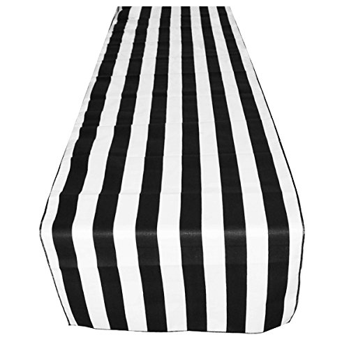 ArtOFabric Decorative Cotton 1 Inch Black and White Stripped Table Runner. 12