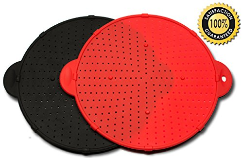 New! 3-In-1 Silicone Splatter Screen - 2-Pack Set Of Red And Black - 11-Inch Diameter - Use As Cooking Guard From Splattering Grease - As Trivet Or Pot Holder - As Colander Substitute Strainer For Draining Or Rinsing Food - Eared Handles - Metal Reinforce