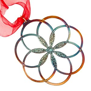 7 Rings of Peace Ornament with Green Ribbon